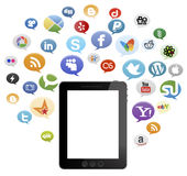 Social Media Buttons and i pad Stock Images