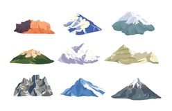 Collection of mountain peaks and ridges isolated on white background. Bundle of various rock cliffs. Set of mounts. Colorful vector illustration in flat style Stock Photo