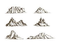 Collection of mountains hand drawn in vintage style. Set of beautiful retro drawings of different rock cliffs and peaks. On white background. Vector Stock Image