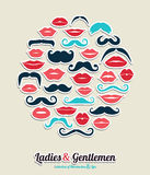 Collection of moustaches and lips Royalty Free Stock Photos