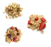 Collection of  muesli  and flakes on white Stock Photo
