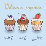 Collection muffin with berries Royalty Free Stock Photography