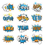 Collection of multi colored comic speech bubble boom effects vector. Stock Photography