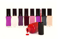 The collection of multi-colored nail Polish. Stock Photo