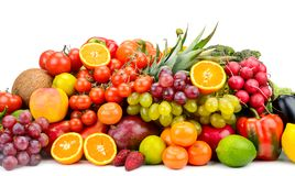 Collection multi-colored vegetables, fruits and berries isolated Royalty Free Stock Photography