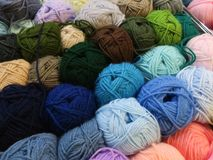 Collection of multi colored wool knots Stock Photo
