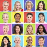 Collection of Multi-ethnic Happy People.  royalty free stock image
