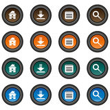 Collection of 16  multicolor buttons (icons) - home button, download button, notepad button, zoom button Royalty Free Stock Photo