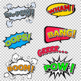 Collection multicolored comic sound Effects Stock Image