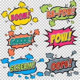Collection multicolored comic sound Effects Stock Photos