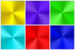 Collection of multicolored conical gradients. A set of colorful conical gradients of different colors for the design of buttons, frames, banners. Bright vector vector illustration