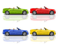 Collection of Multicolored 3D Modern Cars Stock Image