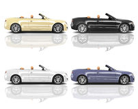 Collection of Multicolored 3D Modern Cars Royalty Free Stock Photography