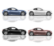 Collection of Multicolored 3D Modern Cars Royalty Free Stock Photos