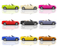 Collection of Multicolored 3D Modern Cars Stock Photography