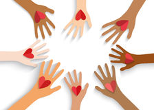 Collection of multicolored hands holding red heart.  Stock Photography