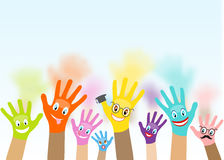 Collection of multicolored hands with smiles Royalty Free Stock Photography