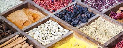 Collection colorful mosaic spices in wooden box. Assortment of condiment cooking ingredient. Seasoning background banner. Collection multicolored mosaic spices stock photo