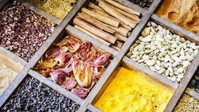 Collection colorful mosaic spices in wooden box. Assortment of condiment cooking ingredient. Seasoning background banner. Collection multicolored mosaic spices royalty free stock image