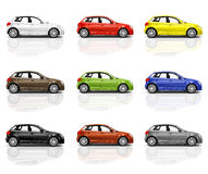 Collection of Multicolored New Modern 3D Cars Royalty Free Stock Photo