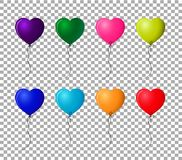 Collection of multicolored realistic helium heart shaped balloon. S isolated on transparent background. Vector clip art for festive design, greeting cards Royalty Free Stock Images