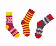 Collection of multicolored socks Royalty Free Stock Images