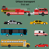 Collection of municipal transport. Buses, taxi, police car, ambulance, fire engine in flat design. Nice for infographic brochures, web and motion design. Vector Royalty Free Stock Images