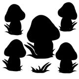 Collection of mushrooms, black silhouette on white background. Royalty Free Stock Photo