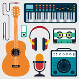 Collection of music instruments and sound flat design  illustration Royalty Free Stock Image