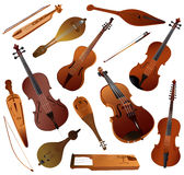 Collection of musical instruments strunnych smychk Royalty Free Stock Images