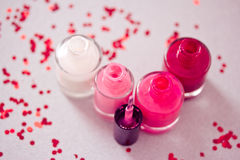 Collection of nail polish bottles Royalty Free Stock Image