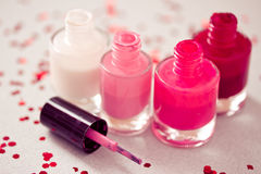 Collection of nail polish bottles. Set of different nail polish colors Royalty Free Stock Image