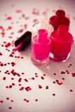 Collection of nail polish bottles. Set of different nail polish colors Stock Image