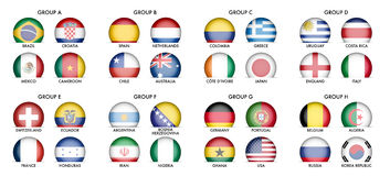 Collection of National Flags. Draw of Groups of Football Teams stock illustration