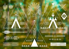 Collection of Native American tribal stylized Royalty Free Stock Photo