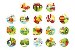 Collection of flat natural circle logo with landscape, city veiw and different types of vehicle. Design elements for vector illustration