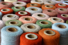 Collection of Natural Colored Vintage Thread Spools Stock Photos