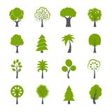 Collection of natural green trees icons set. Pine fir oak and other trees isolated vector illustration Royalty Free Stock Photos