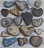Collection of Natural Heart Rocks Royalty Free Stock Photography