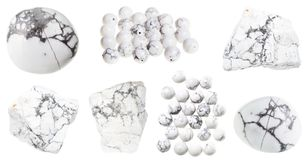 Collection of natural Howlite gemstones isolated Royalty Free Stock Photography