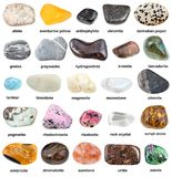 Collection of natural mineral gemstones with name Royalty Free Stock Photos