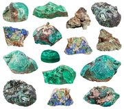 Various Malachite stones isolated on white. Collection of natural mineral specimens - various Malachite stones isolated on white background stock photo