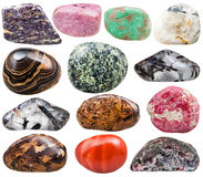 Collection of natural mineral tumbled gemstones stock photos