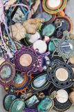 Collection of natural stone pendants. Collection of natural stone handmade pendants Stock Image