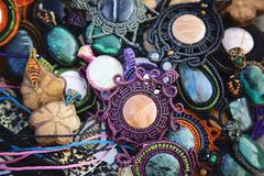 Collection of natural stone pendants. Collection of natural stone handmade pendants Stock Images
