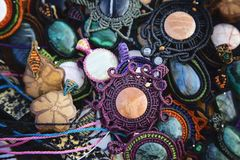Collection of natural stone pendants. Collection of natural stone handmade pendants Stock Photo