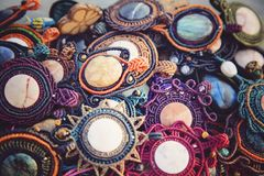 Collection of natural stone pendants. Collection of natural stone handmade pendants Stock Photos