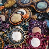 Collection of natural stone pendants. Collection of natural stone handmade pendants Stock Photography