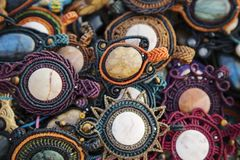 Collection of natural stone pendants. Collection of natural stone handmade pendants Royalty Free Stock Photo