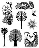 Collection of natural tattoos. On a white background Vector Illustration